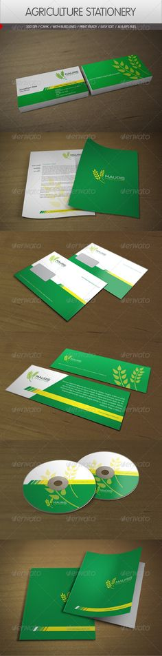 Green Yellow and White corporate id template