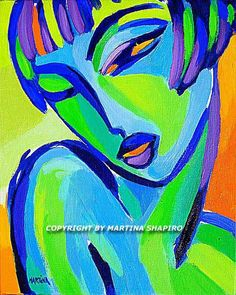French Nude In Blue original oil painting of abstract female nude, fine art by Canadian artist Martina Shapiro