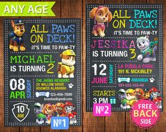 Paw Patrol PRINTABLE Invitation For Birthday Party. Boy Paw Patrol Birthday Invitation. PRINTABLE DIGITAL FILE - Paw Patrol.  This listing is