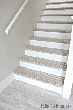 Stairs with carpet herringbone treads and painted white risers, looks like a runner. Benjamin Moore Edgecomb Gray on stairwell wall. Kylie M Interiors E-Design Stairs with carpet herringbone treads and painted white risers, looks like a run. Stairwell Wall, Tile Stairs, Basement Stairs, House Stairs, Hallway Paint, Basement Kitchen, Attic Stairs, Gray Basement, Modern Basement