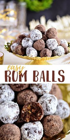 These easy Rum Balls are a tender, pecan-filled truffle like treat that is for adults only. Made with dark rum, they are a delicious way to spread holiday cheer. With just a few simple ingredients and no baking required, this boozy confection packs a Köstliche Desserts, Holiday Cookies, Holiday Baking, Christmas Desserts, Christmas Treats, Delicious Desserts, Dessert Recipes, Easy Christmas Cookies, Breakfast Recipes