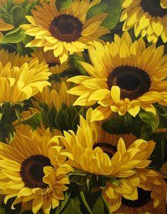 Sunflowers by Loren DiBenedetto ~ OIL … Sunflower Garden, Sunflower Art, Sunflower Fields, Happy Flowers, Beautiful Flowers, Sun Flowers, Sunflowers And Daisies, Sunflower Pictures, Sunflower Wallpaper