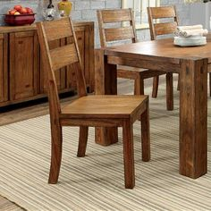 Hokku Designs Bethanne Ladder Back Side Chair in Dark Oak Dinning Table, Dining Chairs, French Country Style, French Furniture, Woodworking Furniture, Wood Veneer, Farmhouse Table, Side Chairs, Solid Wood
