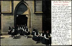 Ansichtskarte / Postkarte Trachten Hessen, Schwälmer Kirchgang, Mädchen in Trachten #Schwalm
