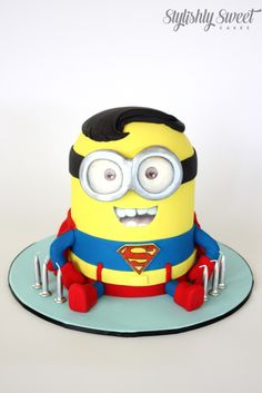 Superhero minion cake www.stylishlysweet.com.au