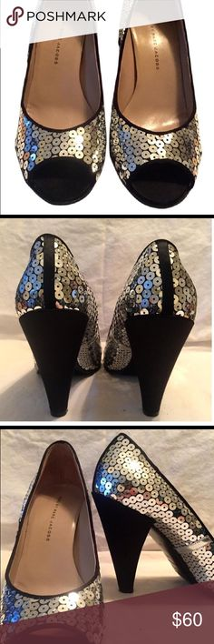Marc Jacobs sequin pumps Marc by Marc Jacobs peep toe pumps with silver sequins. Worn on once around Christmas some years ago. Great condition! They are a 41 perfect for a 10 or 11 Marc by Marc Jacobs Shoes Heels