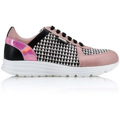 Karl Lagerfeld K/Sneaker Tweed found on Polyvore featuring shoes, sneakers, misty rose, pink metallic shoes, metallic shoes, tweed shoes, round cap and rubber sole shoes
