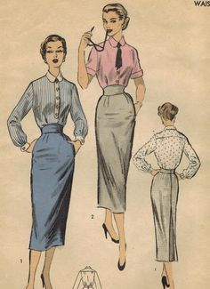 1950s Advance 6540 FF Vintage Sewing Pattern Misses Blouse and Skirt Size 12 Bust 30