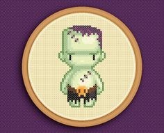 FRANKENSTEIN'S MONSTER - A counted cross stitch pattern based on original pixel art by iamnotadoll