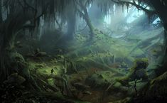 Inquisition screenshot gallery -Dragon Age: Inquisition screenshot gallery - Rainforest enviroment matte painting by Lubos de Gerardo Surzin Dragon Age Inquisition, Landscape Concept, Fantasy Landscape, Landscape Art, Fantasy Places, Fantasy World, Fantasy City, Final Fantasy, Art Environnemental