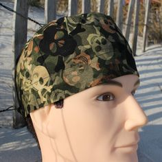 Camo Skull and Crossbones Mens Scrub Hat by SharrisCuteCaps