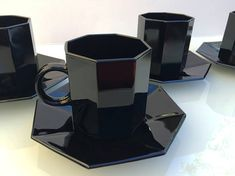 Arcoroc Octime French black glass cup & saucer set of 4 Darkest Black Color, Cup And Saucer Set, Black Glass, Coffee Maker, Coffee Cup, 1980s, Barware, French, Tea