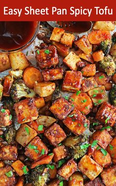 Tofu is spiced and oven-roasted until crispy, along with a medley of comforting vegetables in this Easy Sheet Pan Spicy Tofu dish. Veggie Recipes, Beef Recipes, Vegetarian Recipes, Easy Recipes, Delicious Vegan Recipes, Healthy Dinner Recipes, Healthy Dinners, Lunch Recipes, Healthy Snacks