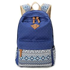 Hitop Geometry Dot Casual Canvas Backpack Bag, Fashion Cute Lightweight Backpacks for Teen Young Girls * You can find more details by visiting the image link.