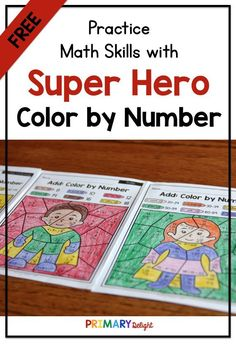 FREE Color by Number Super Heroes with Doubles, and Place Value Math Place Value, Place Values, First Grade Reading, 1st Grade Math, Doubles Addition, Addition Facts, Math Stations, Math Centers, Teaching Subtraction
