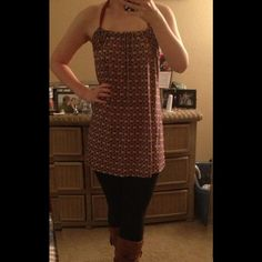 Nordstrom TBD tunic Loose fitting with silk ribbon tie around the neck. Says XS, but fits like a small. Tops Tunics