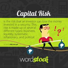 "#WordStock of the day ""Capital Risk"" is the risk that an investor can lose the money invested in a security. This risk is made up of several different types: business, liquidity, systematic, inflationary, and political.(Source: PSE)"