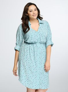 Anchor Print Shirt Dress From the Plus Size Fashion Community at www.VintageandCurvy.com