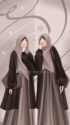Muslim Brides, Muslim Girls, Hijabi Girl, Girl Hijab, Mother Daughter Art, Muslim Pictures, Beautiful Hijab Girl, Islamic Cartoon, Islam Women