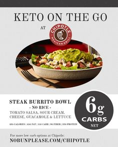 Chipotle offers a wide array of low carb meal options that make the Keto diet a breeze. Yes, I'll take another burrito (bowl), please! Low Carb Lunch, Low Carb Diet, Low Carb Recipes, Diet Recipes, Healthy Recipes, Chipotle, Keto Restaurant, Keto On The Go, Vegan Blog