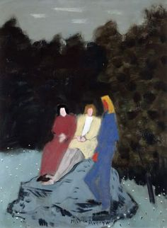 milton avery   'Three Figures on a Rock,' 1944. Oil on canvas board. 23 x 18 inches.