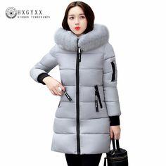 4eedd6e045b 2017 Winter Jacket Women Cotton Coat Plus Size Fur Collar Hooded Parka  Female Long Slim Quilted Jackets Zipper Warm Outwear - TakoFashion - Women s  Clothing ...