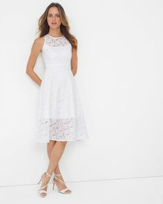 """A worthy update to the LBD, our little white dress has dynamic lace detailing and an exaggerated keyhole back as a salute to all things geometric. Consider wearing this striking fit-and-flare design with nude heels and your legs will instantly look longer.    Sleeveless geo lace fit-and-flare dress   Fully lined in cotton    Cotton/polyester. Machine wash, cold.   Approx. 43.5"""" from shoulder   Imported"""