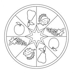 Fall Fruits Mandala for kids to color. Full-size version available for free from… Preschool Christmas Crafts, Classroom Crafts, Halloween Crafts, Autumn Crafts, Fall Crafts For Kids, Diy And Crafts, Mandala Coloring Pages, Coloring Pages For Kids, Coloring Books