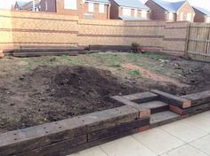 Railway sleeper steps, beds and patio Sloped Backyard, Sloped Garden, Backyard Patio, Backyard Landscaping, Landscaping Ideas, Tiered Landscape, Small Garden Landscape, Landscape Bricks, Garden Seating