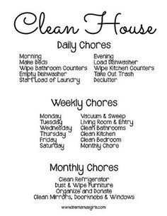 What chores to do to have a clean house, cleaning schedule, cleaning tips, homemaker tips House Cleaning Tips, Spring Cleaning, Cleaning Hacks, Cleaning Schedules, Weekly Cleaning, Cleaning Challenge, Cleaning Routines, Cleaning Lists, Daily Schedules