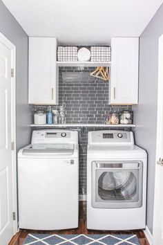 Give your laundry room a makeover in just one weekend by adding a Smart Tiles' backsplash wall tile available at The Home Depot!