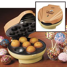 Donut Hole Maker  $39.98      Product # EM24400 - Make delicious donut holes, jelly donuts, cake pops, mini cinnamon buns and more - without turning on the oven! For snack time, party time, or any time, your delectable appetizers and desserts are ready in minutes. Included injector is perfect for adding fillings of jelly, cream or caramel to tasty treats. Includes recipes and instructions. Non-stick.