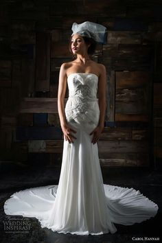 "Strapless Chiffon Sheath/Column Silhouette Gown; --""Le Luna""-- by Carol Hannah Bridal 2014>>>>"