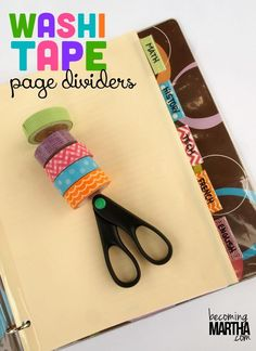 Create these washi tape page dividers to add a little pizzazz to your school supplies! Get cute washi tapes at www.washitapes.nl