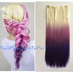 White Blonde to Purple Three Colors Ombre Hair Extension Synthetic Clips in Hair Extensions uf213