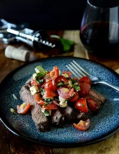Flank steak with caprese salsa