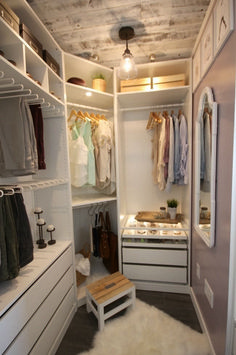 Home Decor Apartment A beautiful dream closet makeover! I LOVE the organization ideas. Such a great use of a small space.Home Decor Apartment A beautiful dream closet makeover! I LOVE the organization ideas. Such a great use of a small space. Walk In Closet Design, Closet Designs, Small Walk In Wardrobe, Small Walk In Closet Ideas, Walk In Closet Organization Ideas, Bedroom Organization, Small Walking Closet, Closet Ideas For Small Spaces Bedroom, Diy Walk In Closet