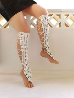 Crochet  leg warmers creame sexy nude shoes  laced up by Lasunka, €27.00