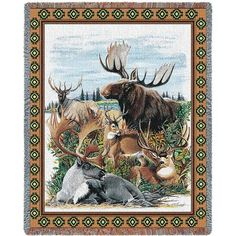 Antlered Animals Blanket Tapestry Throw