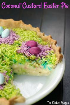 This gloriously colored Coconut Custard Easter Pie is sure to be the hit of your Easter dinner! Easy, fast and delicious! This gloriously colored Coconut Custard Easter Pie is sure to be the hit of your Easter dinner! Easy, fast and delicious! Easter Pie, Hoppy Easter, Easter Dinner, Easter Brunch, Easter Food, Easter Party, Easter Salad, Easter Decor, Just Desserts