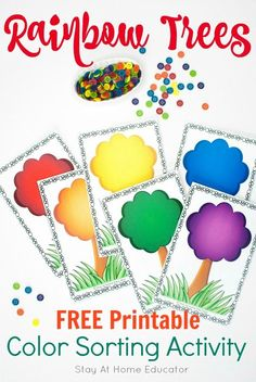 Rainbow Trees Color Sorting Activity Your Preschoolers Will Love - Teach your preschooler color names and sorting skills with this free printable. Also, includes five different ways to use the one rainbow printable.
