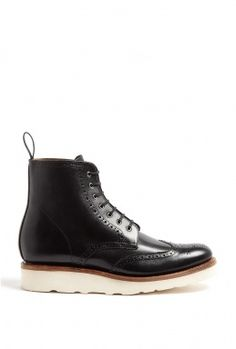 Want these - Emma Black Derby Boots with Rubber Wedge Sole by Grenson