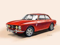 Alfa Romeo GTV Bertone. Illustration by Jonas Linell. Fingerpainted in Sketchbook on iPad