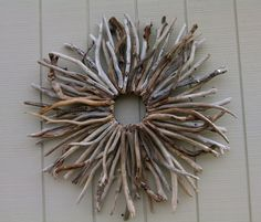 Natural Wood Wall Sculpture Wreath Sunburst by BurlgirlCreations