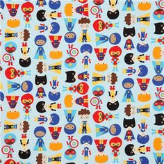 light blue children super heroes fabric Robert Kaufman USA