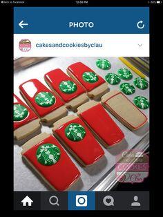 Cake Cookies, Sugar Cookies, Starbucks Cookies, Cookie Decorating, Decorating Ideas, Birthday Week, Cookie Jars, Decorated Cookies, Tea Party