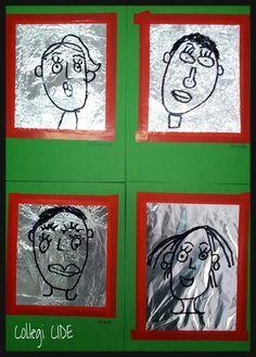 Autorretrat retolador permanent sobre paper d alumini 5 anys Drawing For Kids, Painting For Kids, Art For Kids, Crafts For Kids, Arts And Crafts, Classroom Art Projects, Art Classroom, Arte Elemental, Ecole Art