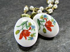 Fall Flower Porcelain Cameo Sweater Clip, Floral Sweater Guard, Cardigan/ Collar Clip, Pearl Sweater Chain, Vintage 1950s Rockabilly Jewelry by RedGarnetStudio