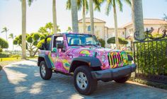 The Lilly Pulitzer Jeep is making an 11-city tour of Florida in February 2015.