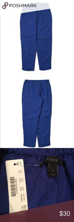 "J Crew Dress Pants New, J Crew cropped leg dress pants. Royal blue, size 0. Elastic waistband. 25"" inseam. 82% acetate and 18% viscose J. Crew Pants Ankle & Cropped"